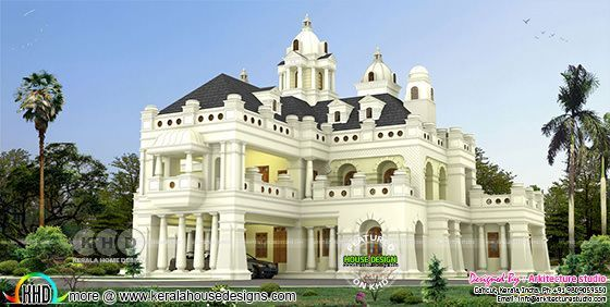 Decorative style Colonial 5 bedroom Kerala house plan