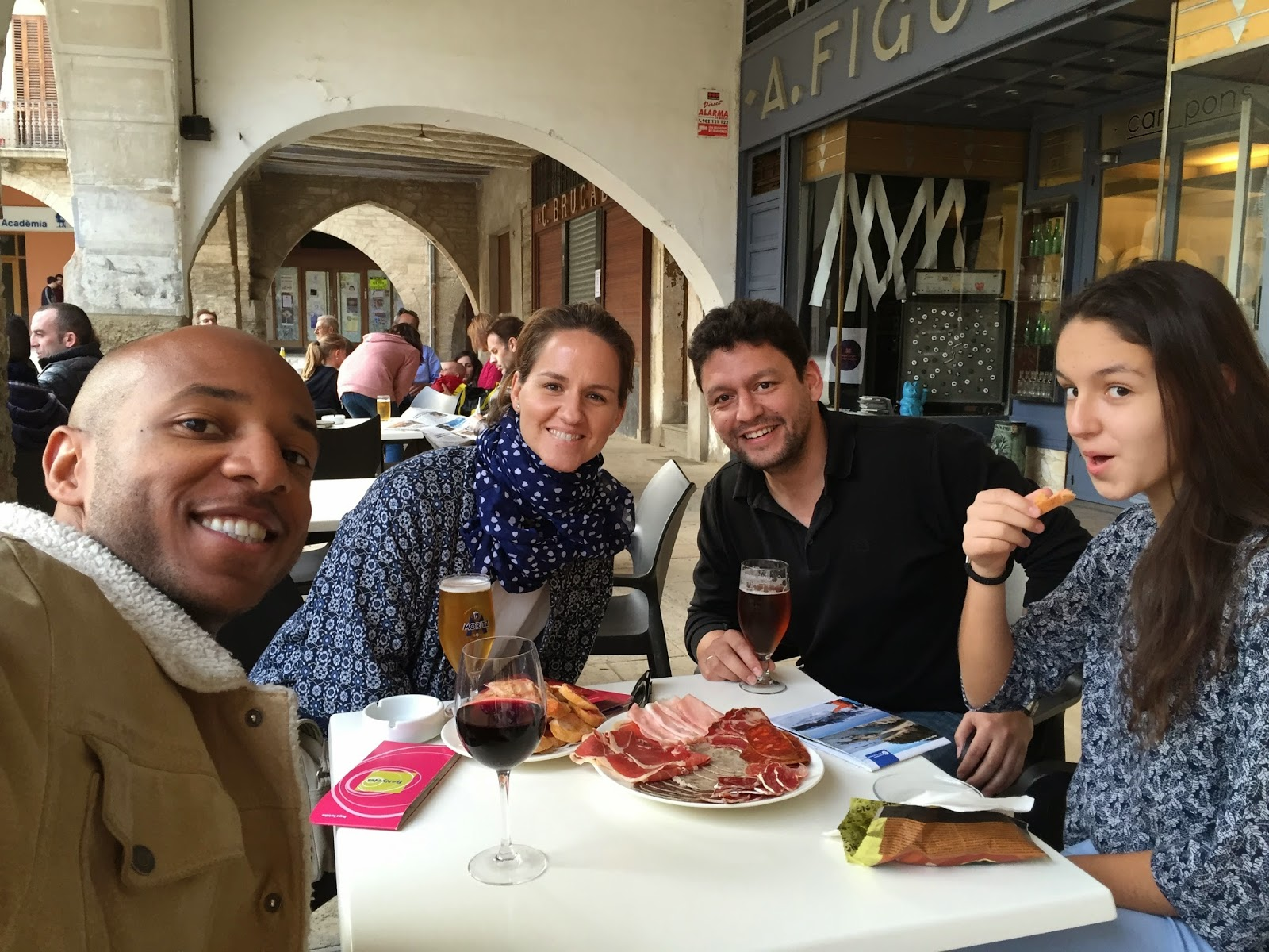 Enjoying a snack in the historic center of Banyoles