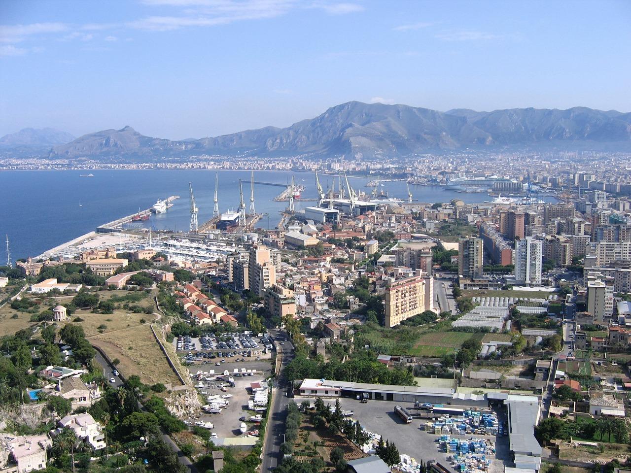 birds eye view of Palermo in Sicily