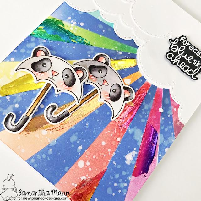 Blue Skies Ahead Card by Samantha Mann | Umbrella Pals Stamp Set, Sunscape Stencil and Sky Borders Die Set by Newton's Nook Designs #newtonsnook #handmade