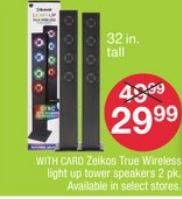 Zeikos True Wireless light up tower speakers