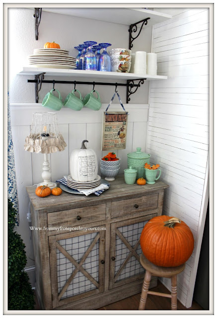 Fall Breakfast Nook Decor-DIY-Open Shelving-Pioneer Woman-Timeless Beauty-Jadeite-From My Front Porch To Yours