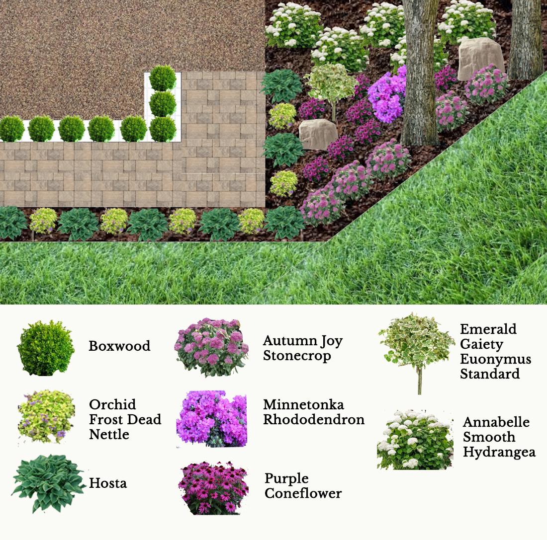front garden plan, shady front garden, partial shade front garden, zone 5 garden plan