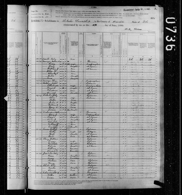 The 1880 Census Showing the Sawyer Family, with Jewel.
