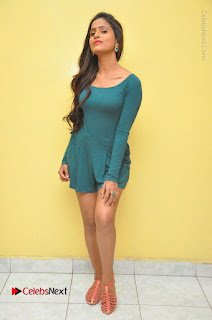 Telugu Actress Prasanthi Stills in Green Short Dress at Swachh Hyderabad Cricket Press Meet  0130.JPG