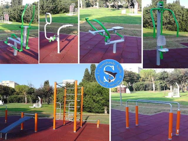 Attrezzi ginnici area fitness playground Parco 2 Giugno