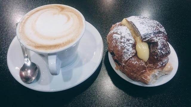 Italian breakfast - cappuccino and cornetto