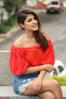 Rhea Chakraborty in Red Crop Top and Denim Shorts Spicy Pics ~  Exclusive 343.JPG