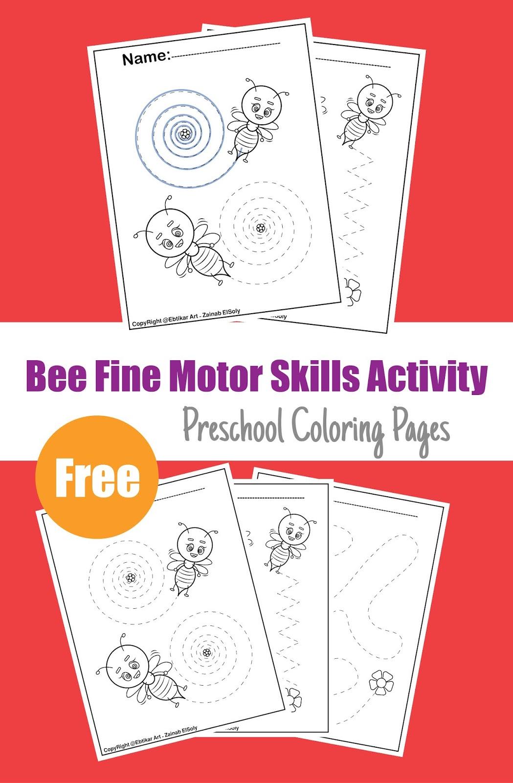Fine Motor Bee Activities Preschool Tracing Worksheets
