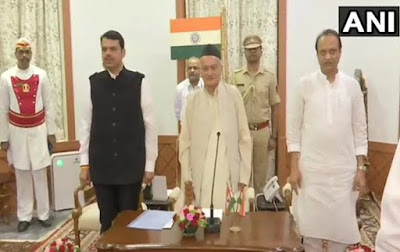 Devendra Fadnavis takes oath as Maharashtra CM, Ajit Pawar as Deputy CM
