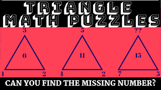 Can you find the missing number in these triangle math puzzles?