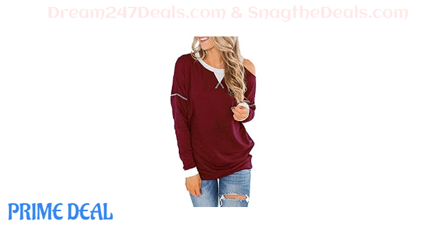 60% OFF Cold Shoulder Womens Tunic Casual Soft Blouses Contrast Stitching Tee Shirts Batwing Long Sleeve Tops