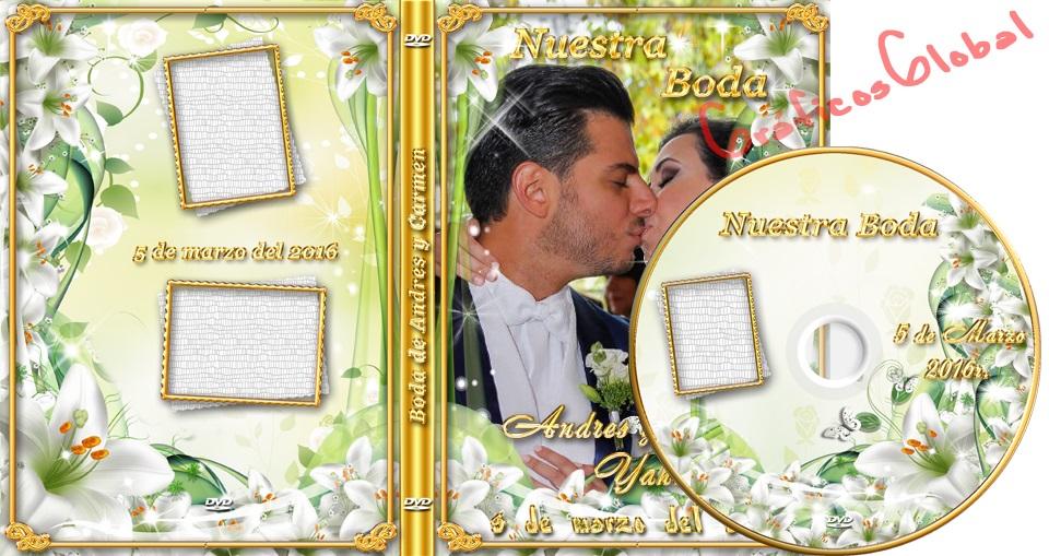 Portada DVD psd con diseño floral lirios