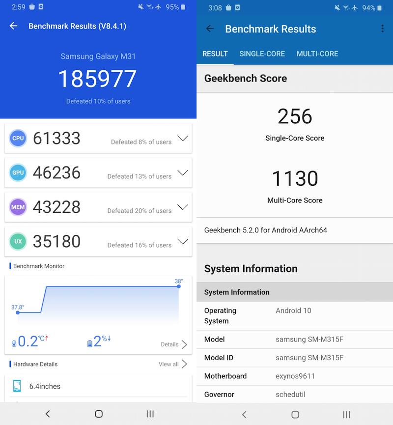 Samsung Galaxy M31 benchmark