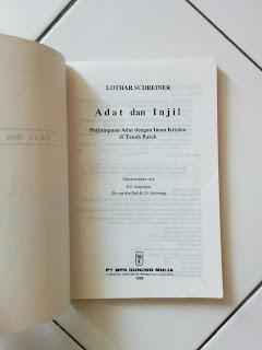 Adat dan Injil Penulis Lothar Schreiner