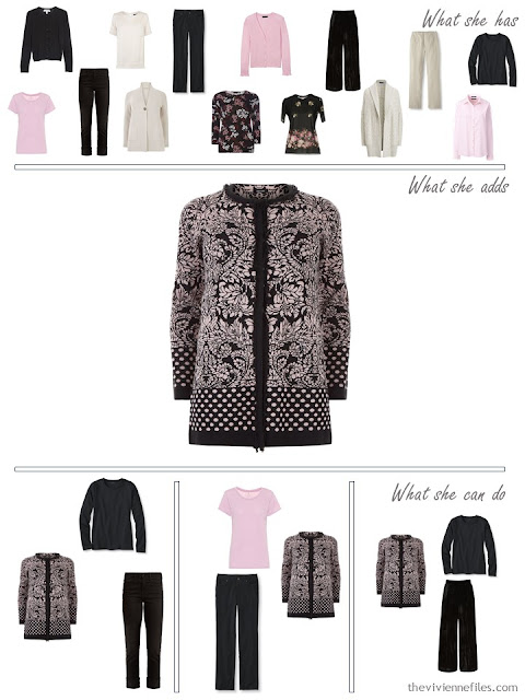 adding a flowered cardigan to a capsule wardrobe