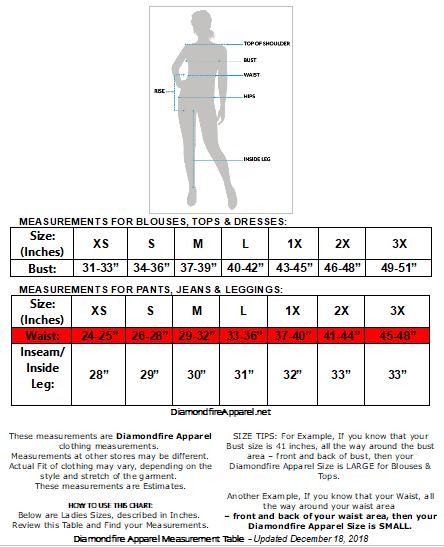 Diamondfire Apparel | Size Chart