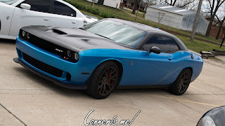 Dodge Challenger Hellcat Black on B5 Blue