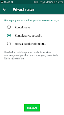 Pengaturan Privasi Status WhatsApp