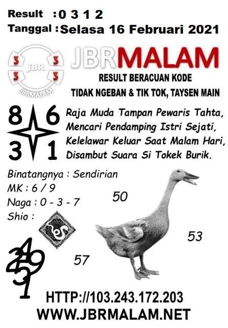 JBR Malam HK Selasa 16-Feb-2021