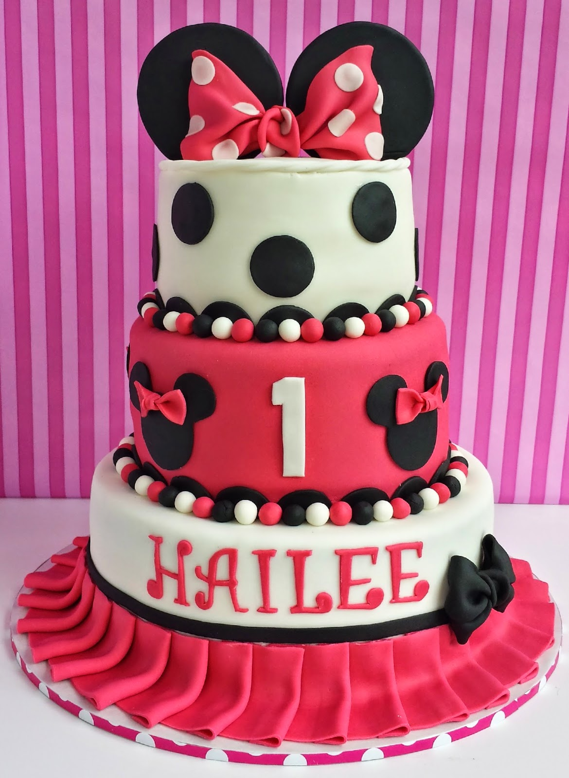 How To Make A Two Tier Minnie Mouse Cake