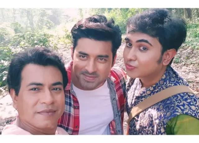 Sandy Saha with Ankush Hazra and Rudranil Ghosh