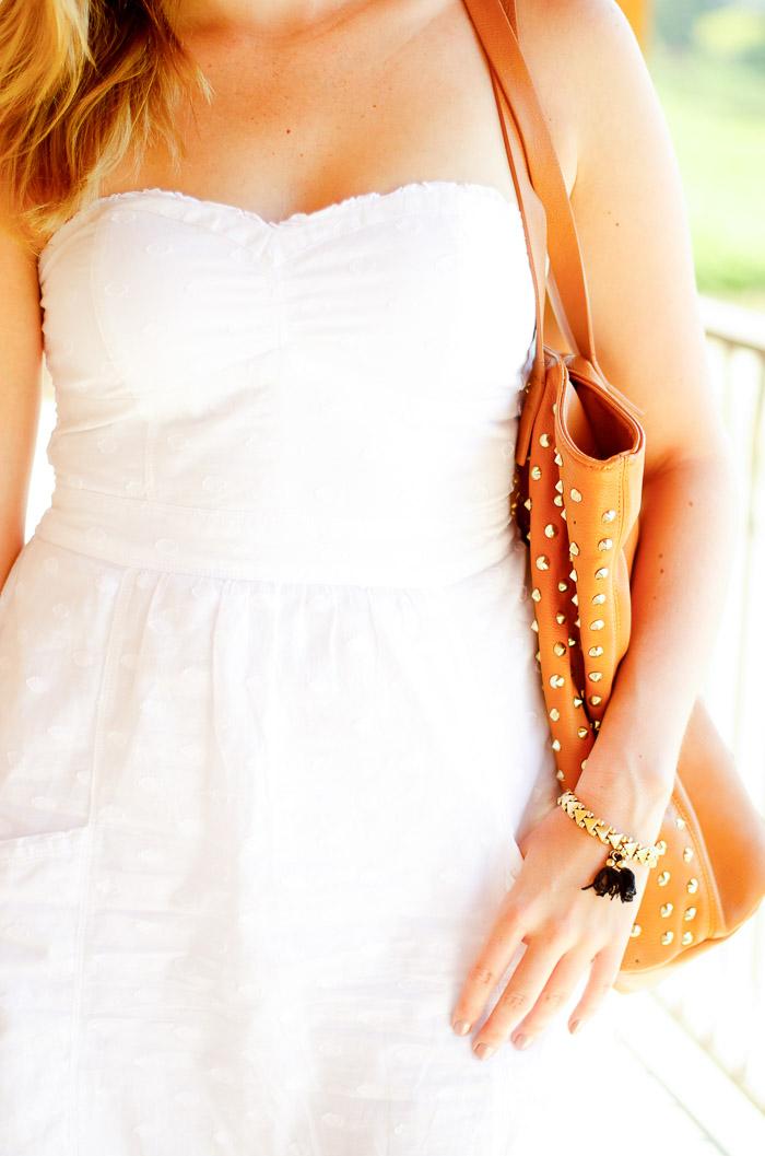 American Eagle eyelet white strapless dress