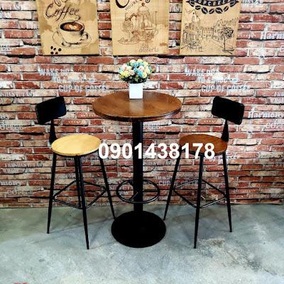 Bộ bàn ghế bar có tựa lưng cho ban công, sân thượng căn hộ, quán cafe, beer club, nhà hàng...