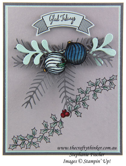 Stampin Up, Christmas Card, Xmas Card, Holly Berry Happiness, Jar of Cheer, Pretty Pines, Stampin Up Australia Demonstrator, Stephanie Fischer, Sydney NSW