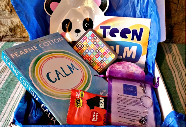 The contents of the teen calm box. A book, bathbomb, sweet treat, fidget toy, facemask.