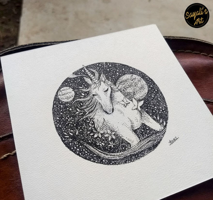 13-Unicorns-Yes-They-Do-Exist-Sayali-Horambe-Stippling-Dots-and-Creating-Drawings-www-designstack-co