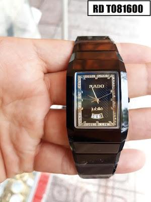 Đồng hồ nam mặt chữ nhật dây đá ceramic đen RD T081600
