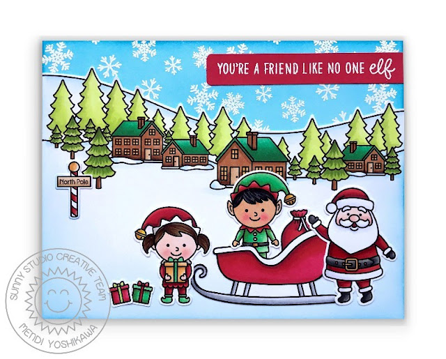 Sunny Studio Blog: You're A Friend Like No One Elf Elves with Santa's Sleigh Punny Handmade Holiday Christmas Card (using North Pole, Winter Scenes and Snow Flurries Stamp Sets)