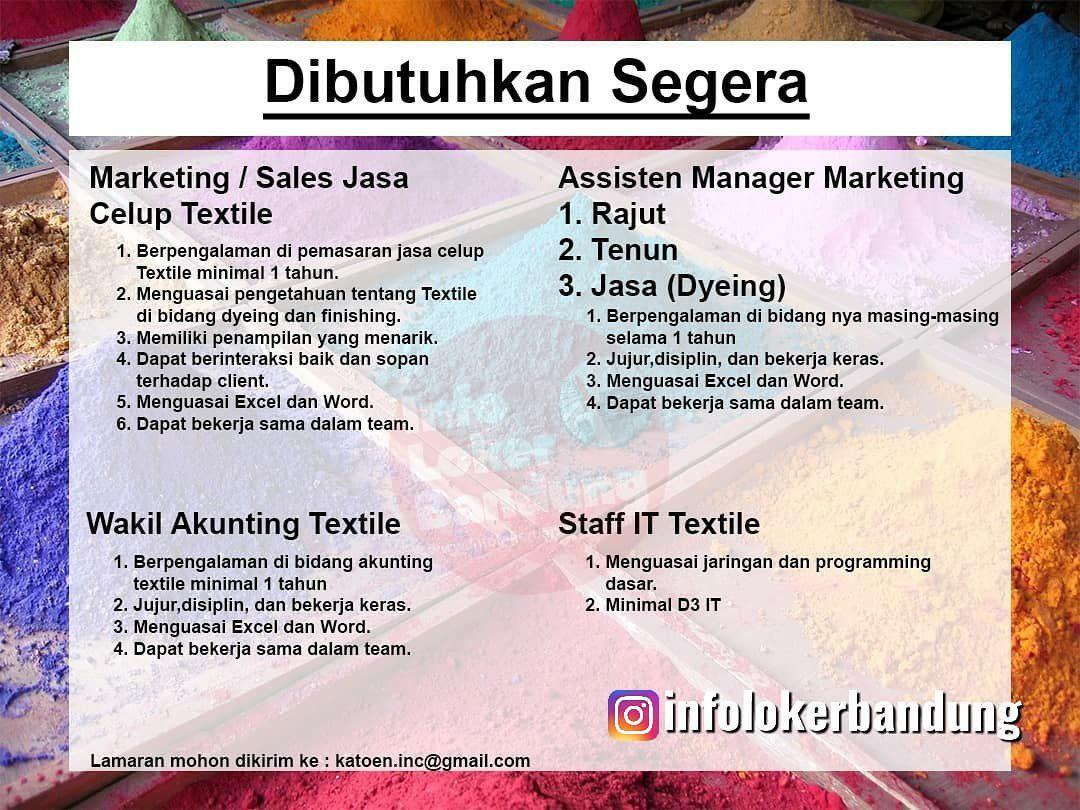 Lowongan Kerja Industri Textile Katoen Inc Bandung Agustus 2019