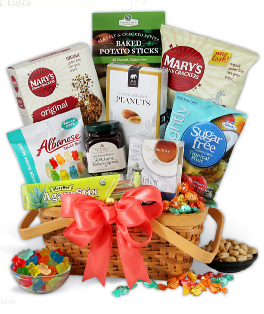 New age mama easter gift guide gourmet gift baskets their sugar free gift basket is filled with tasty treats that will let even people with diet restrictions enjoy the sweetest holiday of the year negle Images