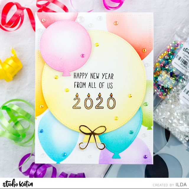 Happy New Year 2020 Balloon Card | Studio Katia by ilovedoingallthingscrafty.com