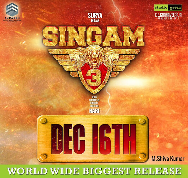Singham 3 Tamil movie Release Date Poster
