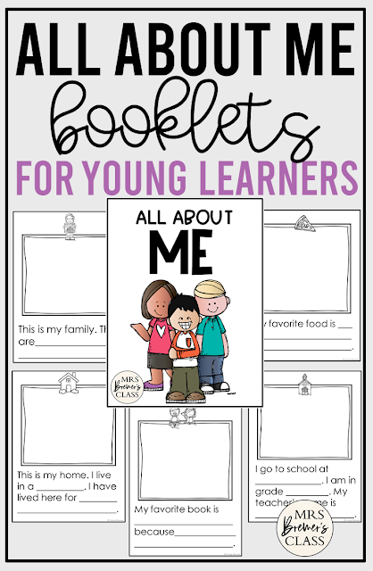 All About Me student booklets with templates for illustrations and writing for Kindergarten and First Grade