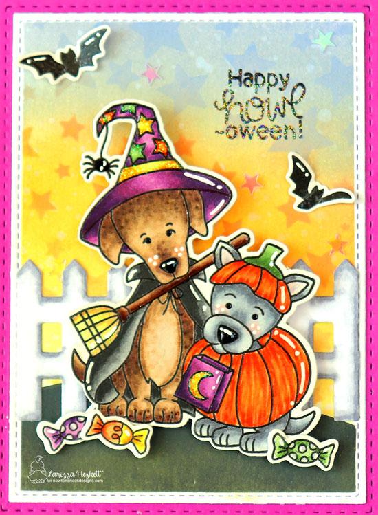 Dog Halloween Card by Larissa Heskett | Happy Howl-oween Stamp Set by Newton's Nook Designs #newtonsnook #handmade