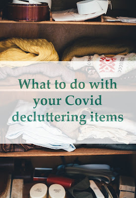 "A wardrobe of clothes with ""What to do with your Covid decluttering items"" in green text over the top."