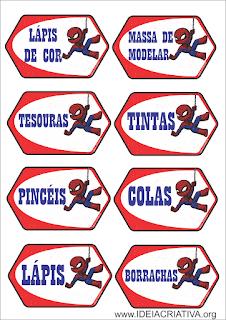 Etiquetas escolares Homem Aranha