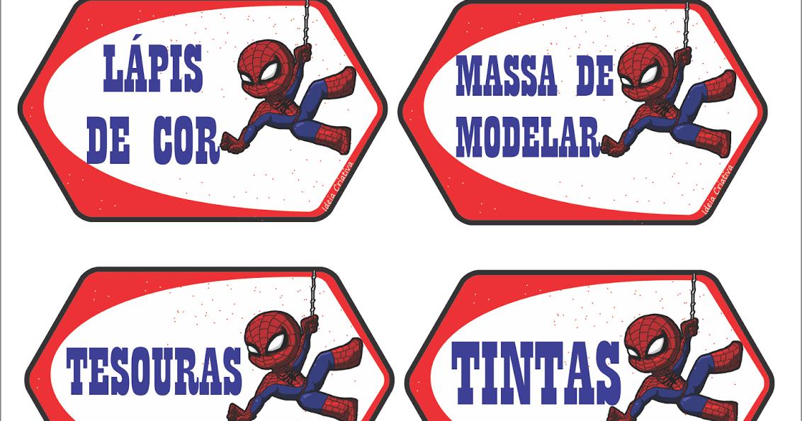 Etiquetas Escolares Homem Aranha Para Organizar Material