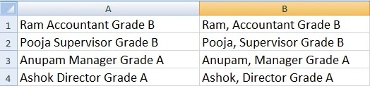 How to Add Comma After First Word in each Cells in Excel in Hindi