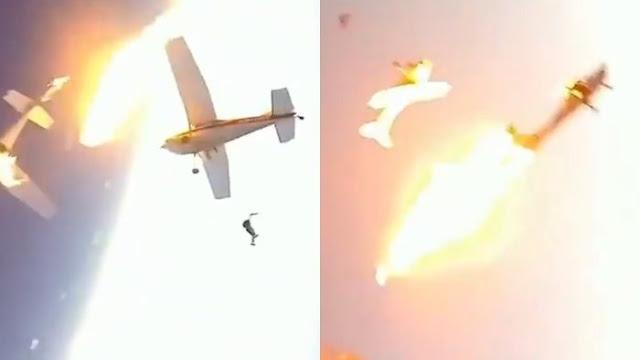 Video Menegangkan Penerjun Payung Melompat Setelah Dua Pesawat Bertabrakan di Udara