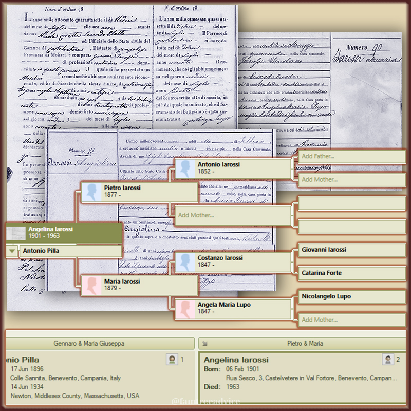A few quick document searches helped me climb my great uncle's wife's family tree.