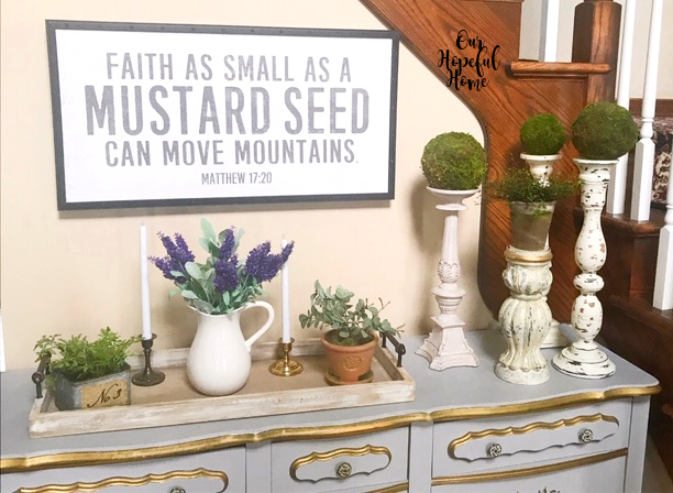 mustard seed wall art foyer buffet shabby chic candlesticks