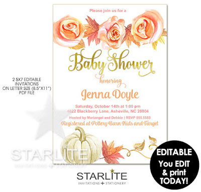 Fall Baby Shower Invitation Editable Template Instant Download