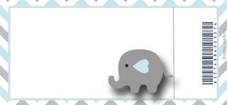 Tarjeta con forma de Ticket de Elefante Bebé en Celeste y Gris