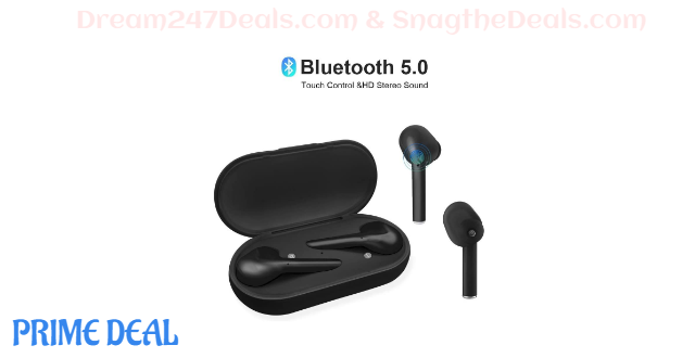 65% off True Wireless Earbuds Bluetooth 5.0 Wireless Earbuds with Microphone Auto Pairing Binaural Calls 16h Cycle Playtime,Bluetooth Earbuds with Charging Case,Touch Control