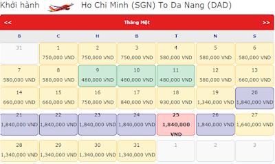 Giá vé máy bay tết đi Đà Nẵng hang vietjet Air
